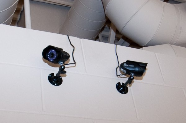 Close-up of the playroom cameras