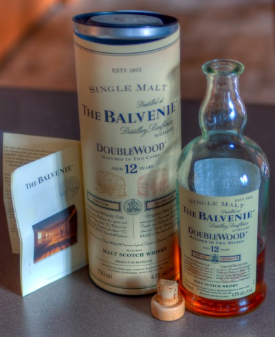 HDR image of a bottle of Balvenie Doublewood scotch