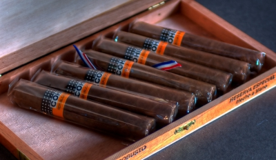 HDR image of Dominican Cohiba cigars in a box