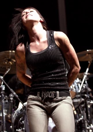 Sarah Anthony of The Letter Black performing during Skillet's Awake and Alive tour