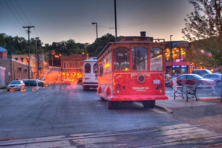Unedited HDR version, from 9 exposures. Multiple cars and a group of people went through the scene while shooting - I haven't edited out the artifacts.. it's ugly! But still kind of a nifty picture.
