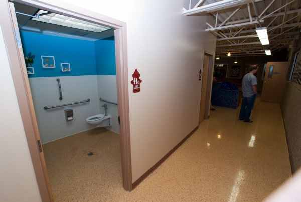 The lobby also has something new - *restrooms*