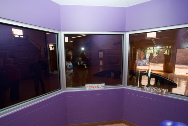 Windows overlooking the large play rooms